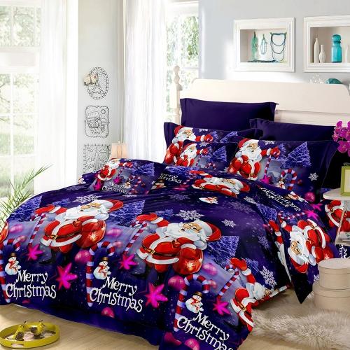 Комплект постельных принадлежностей для Рождества Санта-Клауса Полиэфирная трехцветная крышка + 2шт Наволочки + набор постельного белья Новогодние украшения для спальни - размер королевы
