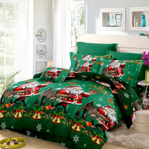 Christmas Santa Bedding Set Polyester 3D Printed Duvet Cover + 2pcs Pillowcases + Bed Sheet Set Christmas Bedroom Decorations--Queen Size