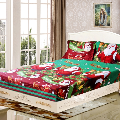 3pcs/set Christmas Santa Bedding Set Micro Fiber 3D Printed Fitted Bed Sheet + Pillowcase + Bed Sheet Set Christmas Bedroom Decorations