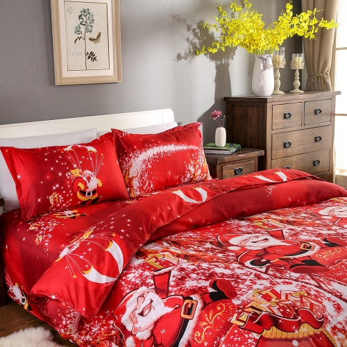 Christmas Santa Bedding 3D Printed Duvet Cover+2pcs Pillowcases+Bed Sheet Set
