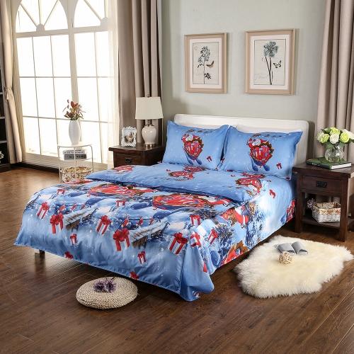 Christmas Santa Bedding Set Polyester 3D Printed Duvet Cover + 2pcs Pillowcases + Bed Sheet Set Christmas Bedroom Decorations