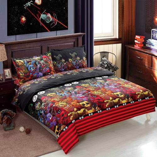 4pcs/set Halloween Skeleton Bedding Set Polyester 3D Printed Duvet Cover + 2pcs Pillowcases + Bed Sheet Halloween Bedroom Decorations--Twin Size