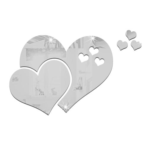 Акриловая зеркальная наклейка для стен в форме сердца Гостиная Спальня Декальное настенное украшение Отражение Модное зеркало на стене Пилинг и палка