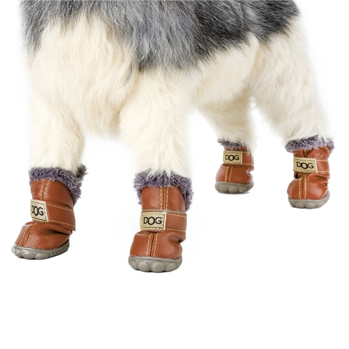 4-pcs Set Puppy Pet Dog Cat Shoes Boots Paw Protectors Winter Warm Water-resistant PU Antiskid Rubber