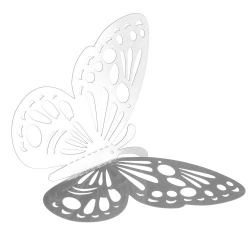 12pcs / set 3D стикеры стены бабочки Полые съемные наклейки Mural наклейки DIY искусство наклейки декора с клеем для партии венчания спальни - золото