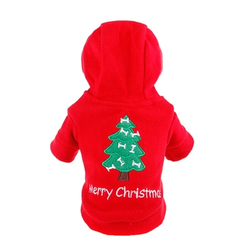 Cute Pet Dog Christmas Tree Printed Hoodie Soft Cloth Puppy Coat Autumn Winter Warm Clothes