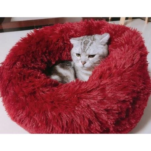 Круглая плюшевая кровать для кошки фото
