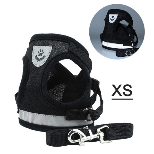 Dog Harness No-Pull Pet Harness Step-in Air Dog Harness, Soft Mesh Cat Harness, Step in Vest Harness Adjustable Outdoor Pet Vest, Reflective Harness for Pet Kitten Puppy Rabbit, (Black,XS)