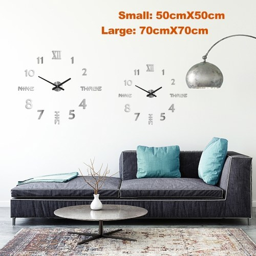 DIY Wall Clock 3D Mirror Stickers Large Wall Clock Frameless Modern Design Large Watch Silent Home Office Number Clock Decorations Gift(Silver,Small)