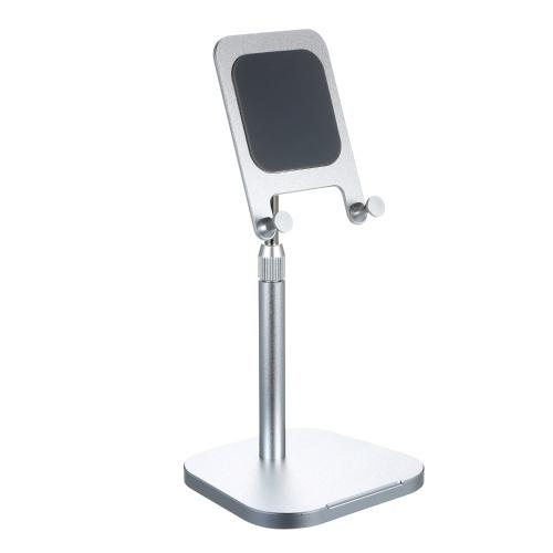 Suporte de suporte para tablet de celular com altura ajustável em 360 graus de liga de alumínio giratório contrapeso de base redonda Suporte de suporte de mesa prata