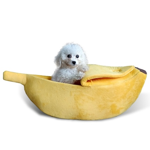 Banana Cat Bed House Puppy Cushion Kennel Portable Warm Pet Basket Supplies Mat