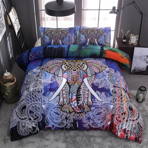 Bedding Set Colorful Elephant Pillowcase Bed Sheet