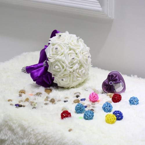Свадебные украшения поставляет слоновой кости Роуз кристалл продаваемая роскоши для букета невесты с искусственных хрусталь и 16 ручной Diamond Розы Валентина