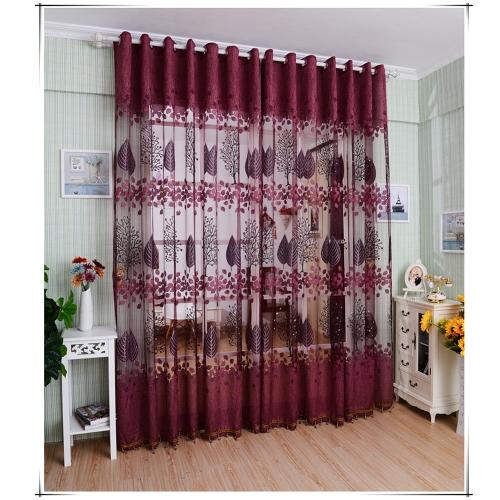 European Top-grade wzór liści Połowa zacienienia wypalona kurtyna do drzwi okna pokoju dekoracja okien Screening duszpasterskie Voile Zasłony wystrój sypialni 2szt