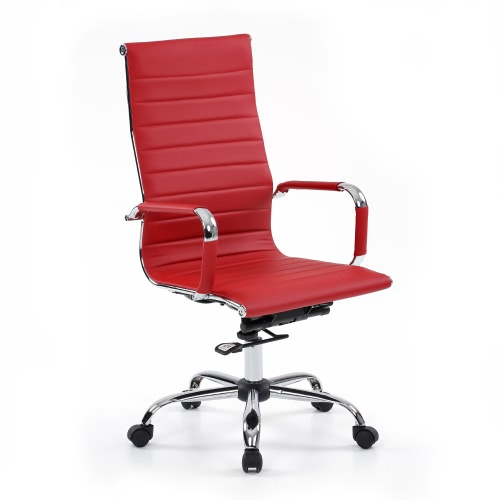 iKayaa Luxury Ergonomic PU Leather Office Executive Chair Stool Adjustable Swivel High Back Computer Task Office Furniture