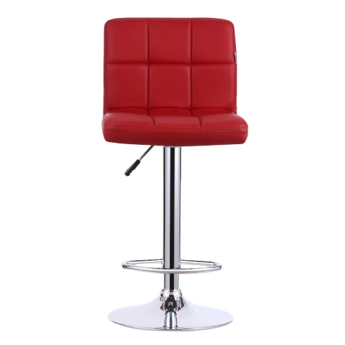 IKAYAA Lot de 2 tabourets de bar design en cuir PU rouge