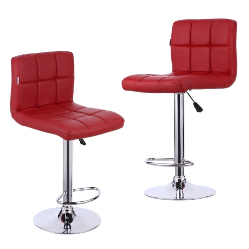 iKayaa 2PCS/Set of 2 PU Leather Swivel Bar Stools Chairs Height Adjustable Pneumatic Heavy-duty Counter Pub Chair Barstools