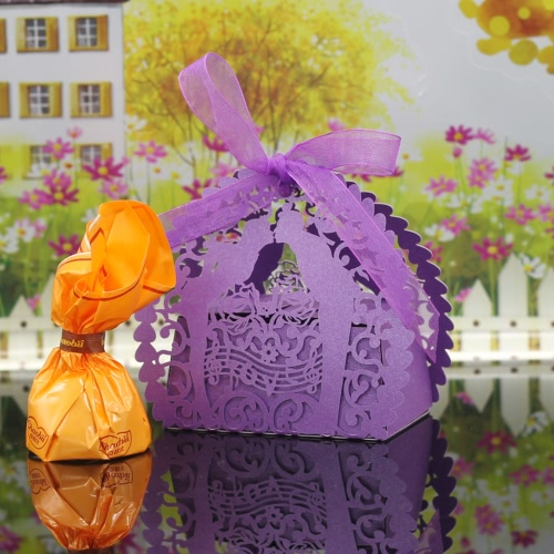 30PCS Handmade Laser Cut Candy Boxes with Ribbons Wedding Party Favor Birthday Gift Sweet Boxes Kiss Lover Pattern Wedding Accessory