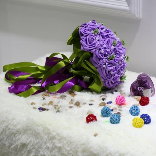 Hochzeit Bouquet PE stieg künstliche Blumenbouquets Hochzeit Brautjungfer dekorative Blume Blumenstrauß Crystal Pearl
