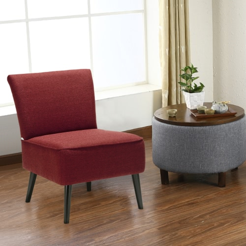 iKayaa Современный проложенный Большой Сиденье Accent Side Кресло льняная ткань Мягкая Журнальные Стул для гостиной Мебель для спальни Lounge W / каучуковое дерево Ноги
