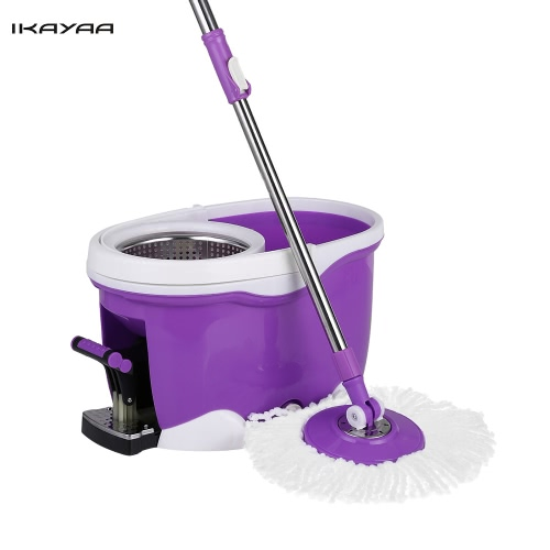 iKayaa Hands-free Stainless Steel 360°Rolling Spin Mop & Bucket Set Foot Pedal Rotating Self-Wring Floor Mop W/ 2 Microfiber Mop Heads