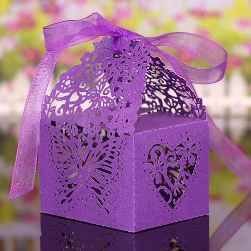 20PCS Laser-Schnitt Romantische Schmetterling DIY Geschenk-Süßigkeit schachtelt Hochzeit Geburtstag Party Favor mit Bändern Brautbabydusche Bankett-Boxen
