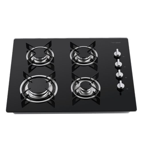 Homgeek 60cm High-end Modern European Style Gas Hob 4 Burners Built In Tempered Glass Gas Range Professional Kitchen Cooktop