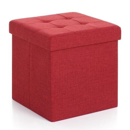 iKayaa Modern Linen Fabric Foldable Storage Ottoman Cube Foot Rest Storage Stool Box Pouffe Padded Seat Instant Coffee Table