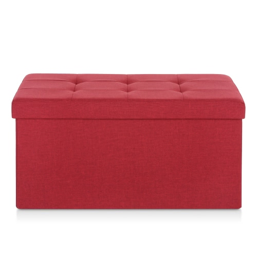 iKayaa Modern Linen Fabric Folding Storage Ottoman Bench Large Rectangle Foot Rest Pouffe Storage Box Stool Instant Coffee Table