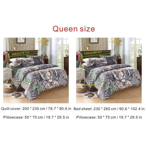 Modello della tigre 4Pcs 3D Stampato Bedding Set Biancheria Tessile per la casa Queen Size Quilt Cover lenzuolo 2 federe