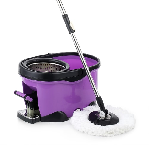 iKayaa Hands-free Stainless Steel 360°Rotating Spin Mop Bucket Set with Foot Pedal Self-Wring Floor Mop +1 Microfiber Mop Head + Scrub Brush + Chenille Mop Head