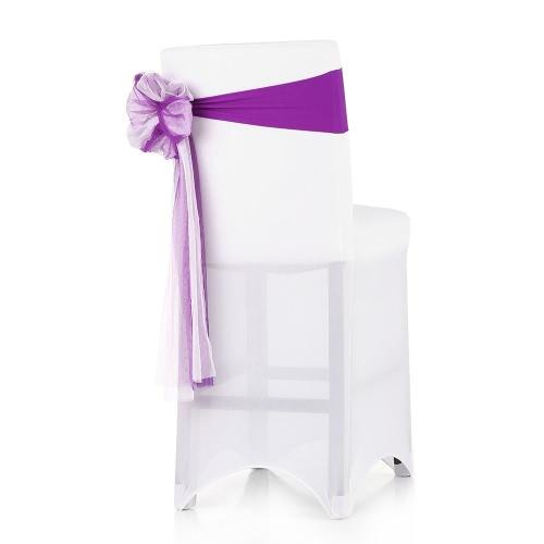 10PCS konferencyjne ślubne dekoracje Handmade Bow elastyczne Spandex Organza Krzesło Cover Sashes Łuki Wydarzenia ogrodnicze strona dekoracji Chair Sash