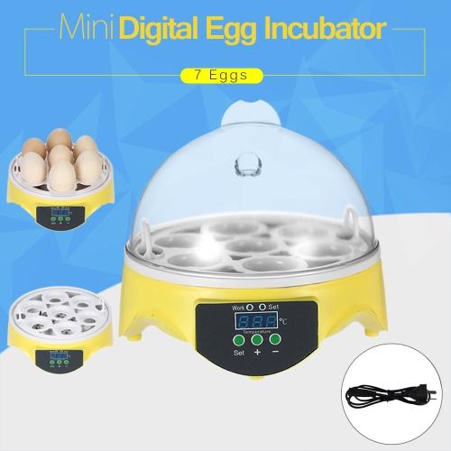 7 Eggs Mini Digital Egg Incubator Hatcher Transparent Eggs Hatching Machine Automatic Temperature Control for Chicken Duck Bird Eggs AU Plug AC220-240V