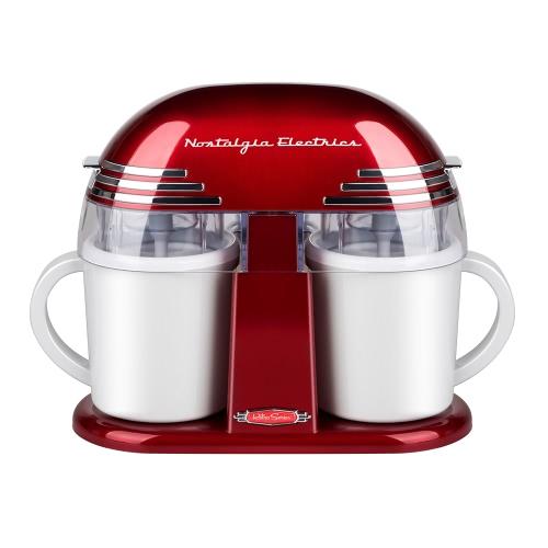 Nostalgia Retro Style Double saveur Machine à glaçons Machine à glaçons électrique à la maison Rouge 1L 220-240V