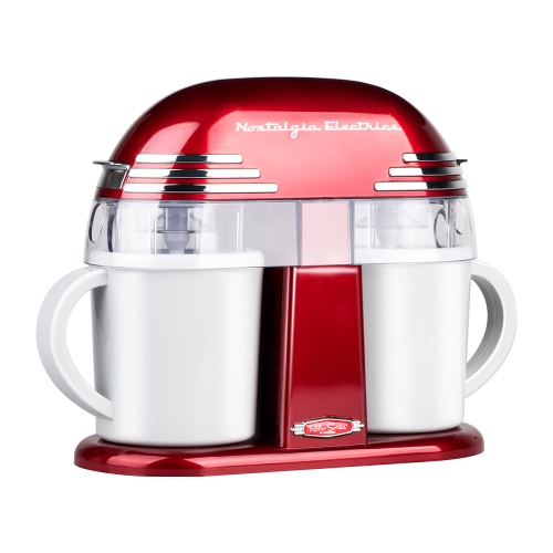 Nostalgia Retro Style Double Flavor Ice Cream Maker Household Electric Fruit Ice Cream Machine Red 1L 220-240V