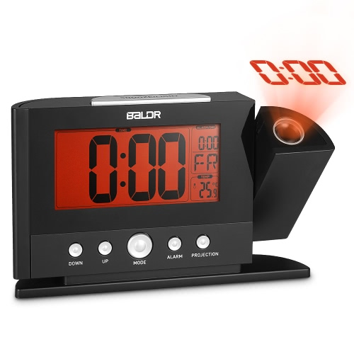 Rotatable Digital Projection Clock with Large Screen Display Date Time Temperature Excellent Multifunctional LCD Alarm Clock
