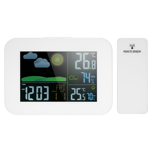 Multifunktions-Wireless-Farb-LCD-Wettervorhersage Uhr Indoor Outdoor Thermometer Hygrometer mit USB 1A Ausgang Alarm Snooze Perpetual Kalender Funktion AC100-240V