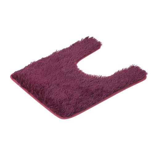 50 * 60cm U-shaped Soft Plush Bathroom Rug Non-slip Water Absorbent Shaggy Shower Mat Bathmat Bath Toilet Rug Wine Red