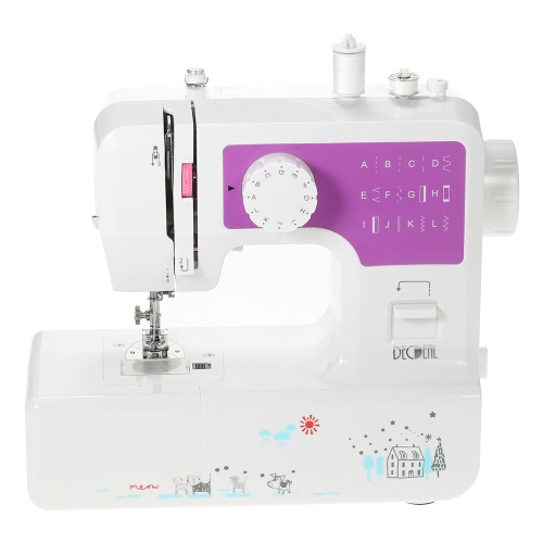 Decdeal Multifunctional Electric Household 2-Speed Sewing Machine with Buttonhole Presser Foot Pedal LED Light USB Output 12 Built-in Stitch Patterns AC100-240V