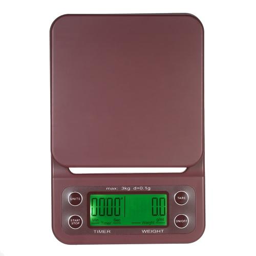 Точная шкала капель кофе с большим прозрачным жидкокристаллическим дисплеем Кофейная весы Портативная электрическая кухонная шкала с функцией таймера и тары