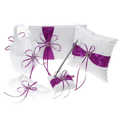 5pcs/set Wedding Supplies Double Heart Satin Flower Girl Basket + 7 * 7 inches Ring Bearer Pillow + Guest Book + Pen Holder + Bride Garter Set White