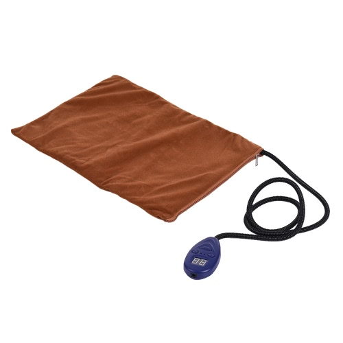Electric Heating Pad Mat for Warming Dog Cat Pet Bed with Chew Resistant Cord Soft Removable Cover 7 Temperature Levels Adjustable(25~55) 12V Size 40 * 30cm / 15.7 * 11.8in