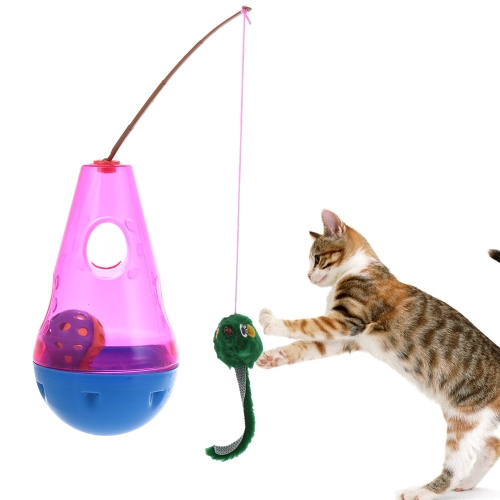 Premium Interactive Tumbler Roly-poly Wobbler Pet Cat Toy with Mouse Prey Bell Ball