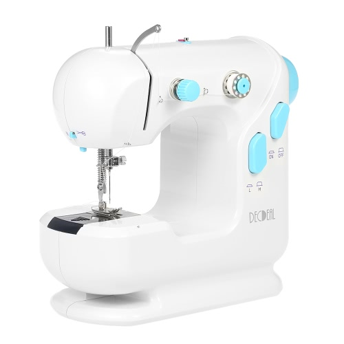 Decdeal Multifunctional Electric Household Sewing Machine with Double Thread Double Speed LED Light Foot Pedal AC100-240V