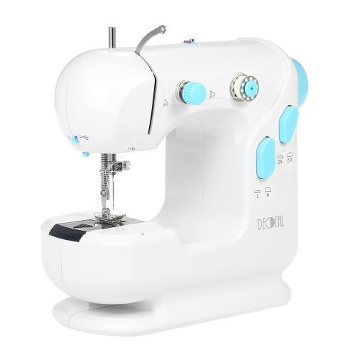 Decdeal multifuncional máquina de coser eléctrica con doble hilo doble velocidad LED pie de pedal AC100-240V