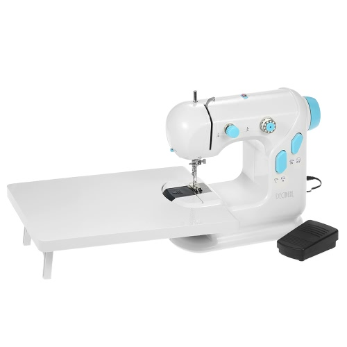Decdeal multifonctionnel machine à coudre électroménager électrique avec table d'extension double fil à double vitesse LED Light Pedal AC100-240V