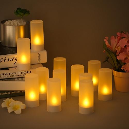 12 teile / satz Wiederaufladbare LED Flackern Flammenlose Kerzen Teelicht Kerzen Lichter mit Matt Tassen Lade Basis Gelbes Licht AC100-240V