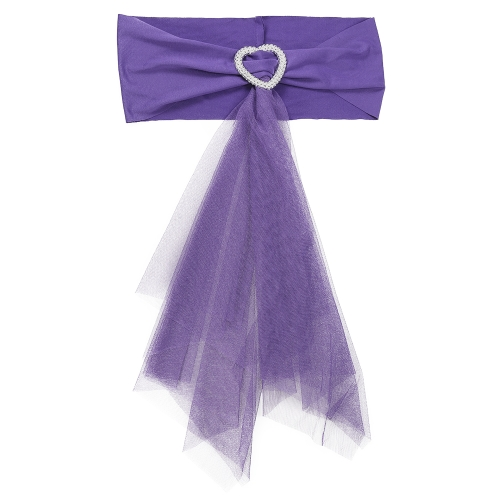 20pcs Wedding Heart Chair Sashes Elastic Spandex Organza Chair Sash Covers Wedding Banquet Supplies Decorations--White