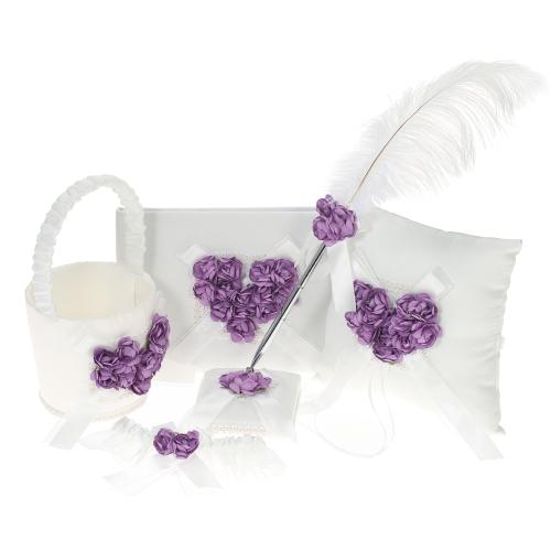5pcs / set satin fleur fille panier + 7 * 7 pouces anneau Bearer oreiller + livre d'or + porte-stylo + mariée jarretière Set fournitures de mariage - rouge