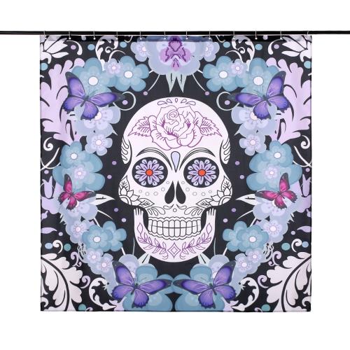 """71 """"* 71"""" rideau de douche modèle de crâne taille 180 * 180cm tissu polyester résistant à l'eau rideau de bain avec 12 C anneau crochet"""